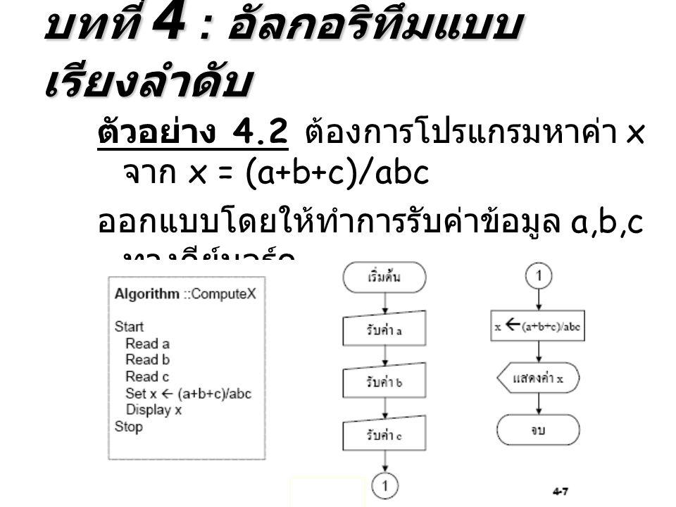 บทที่ 4 : อัลกอริทึมแบบเรียงลำดับ