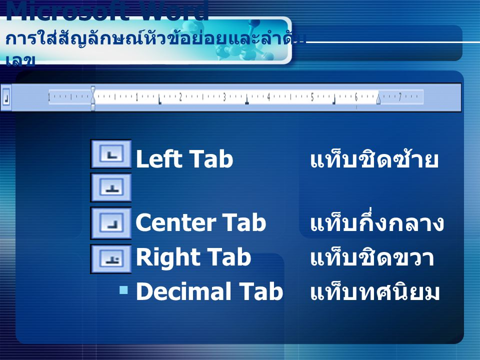Microsoft Word การใส่สัญลักษณ์หัวข้อย่อยและลำดับเลข