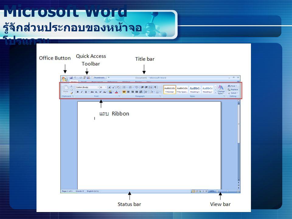 Microsoft Word รู้จักส่วนประกอบของหน้าจอโปรแกรม