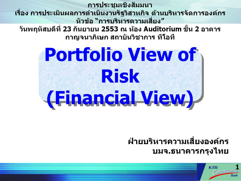 Portfolio View of Risk (Financial View)