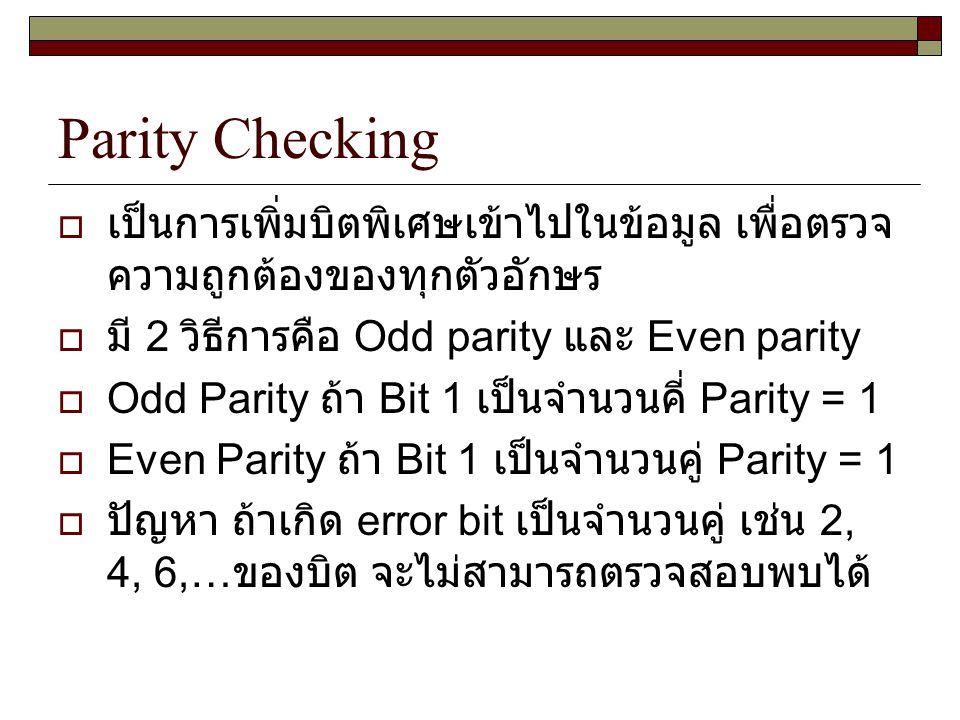 Parity Checking เป็นการเพิ่มบิตพิเศษเข้าไปในข้อมูล เพื่อตรวจความถูกต้องของทุกตัวอักษร. มี 2 วิธีการคือ Odd parity และ Even parity.