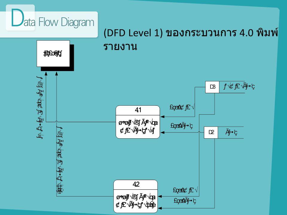 (DFD Level 1) ของกระบวนการ 4.0 พิมพ์รายงาน