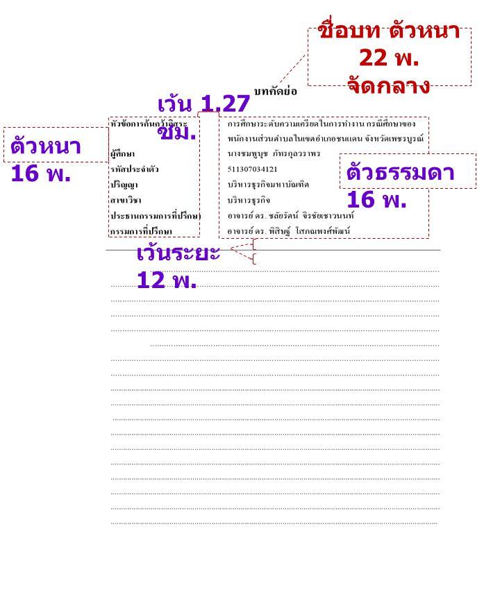 ชื่อบท ตัวหนา 22 พ. จัดกลาง เว้น 1.27 ซม. ตัวหนา 16 พ. ตัวธรรมดา 16 พ. เว้นระยะ 12 พ.