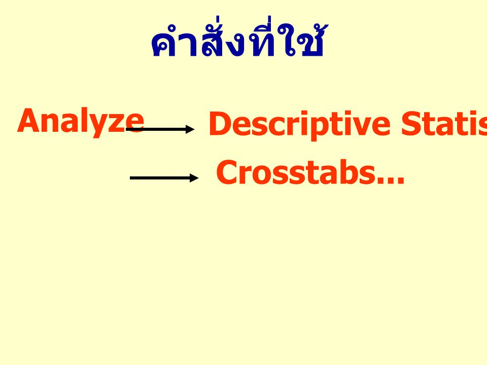 คำสั่งที่ใช้ Analyze Descriptive Statistics Crosstabs...