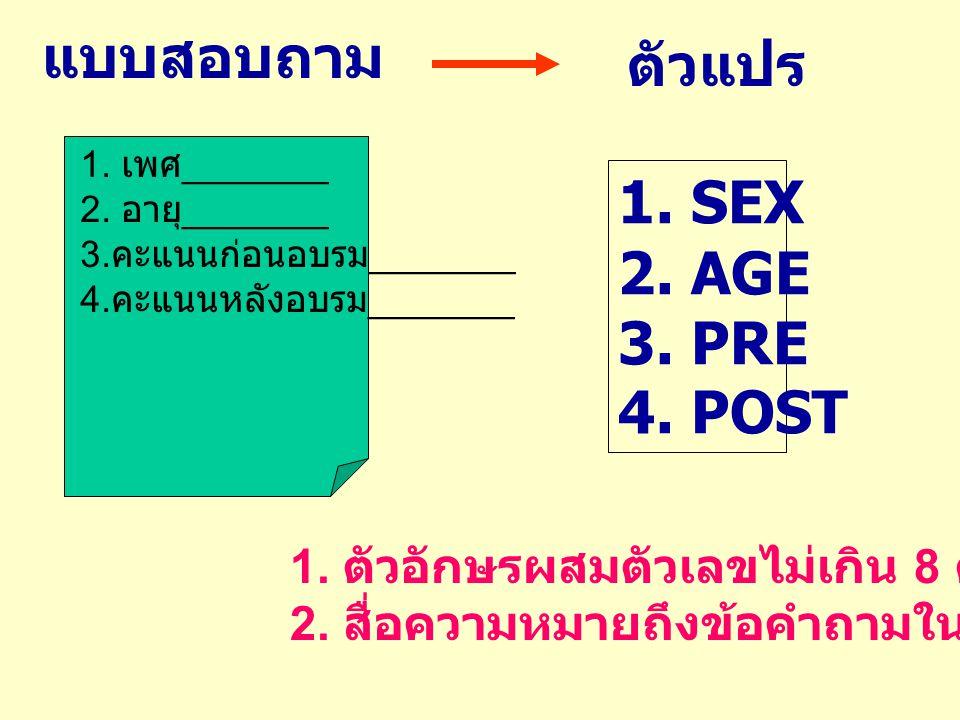 แบบสอบถาม ตัวแปร 1. SEX 2. AGE 3. PRE 4. POST