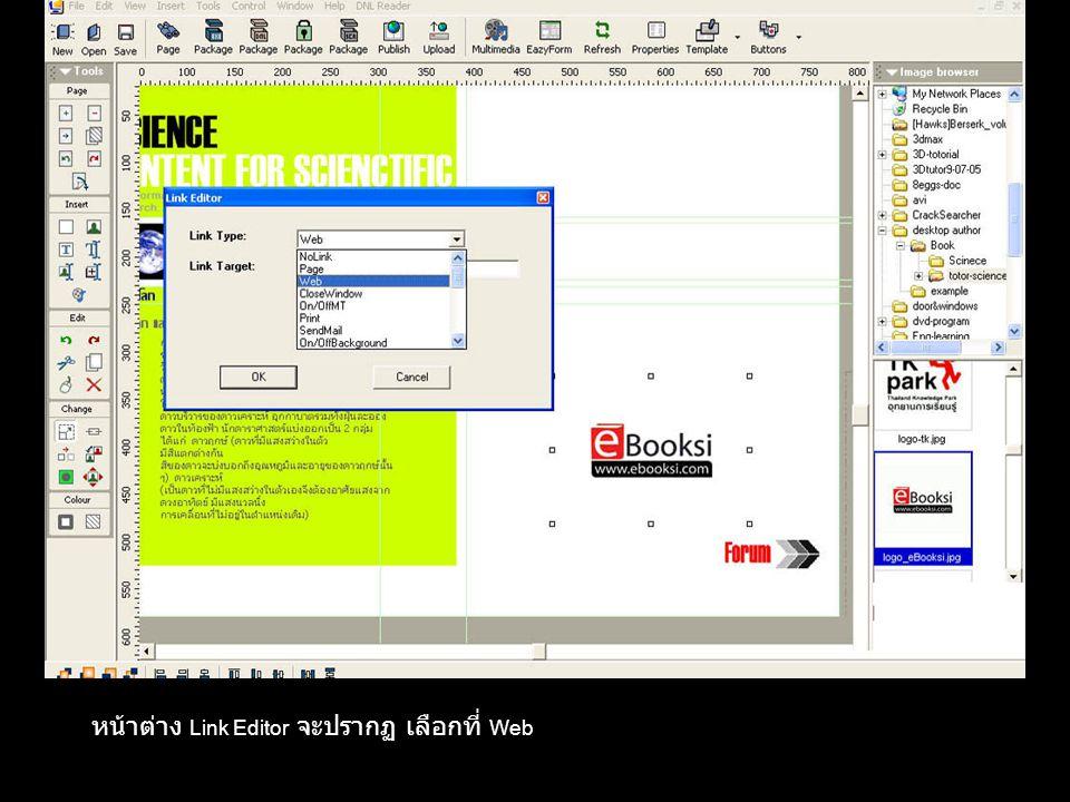 หน้าต่าง Link Editor จะปรากฏ เลือกที่ Web