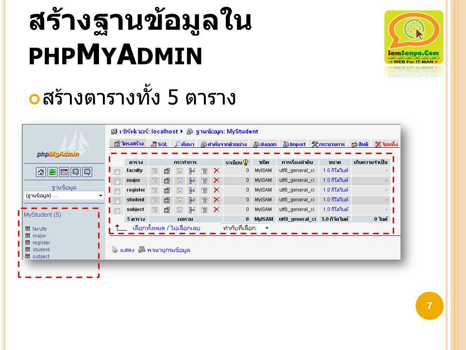 สร้างฐานข้อมูลใน phpMyAdmin