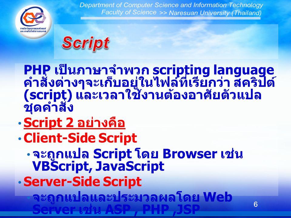 Script PHP เป็นภาษาจำพวก scripting language คำสั่งต่างๆจะเก็บอยู่ในไฟล์ที่เรียกว่า สคริปต์ (script) และเวลาใช้งานต้องอาศัยตัวแปลชุดคำสั่ง.
