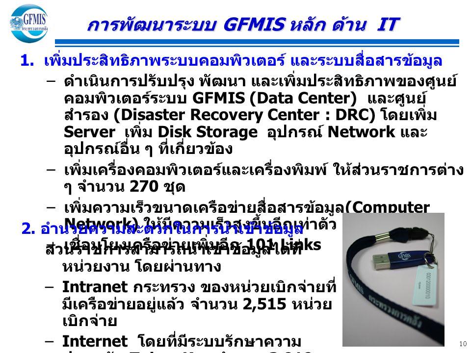 การพัฒนาระบบ GFMIS หลัก ด้าน IT