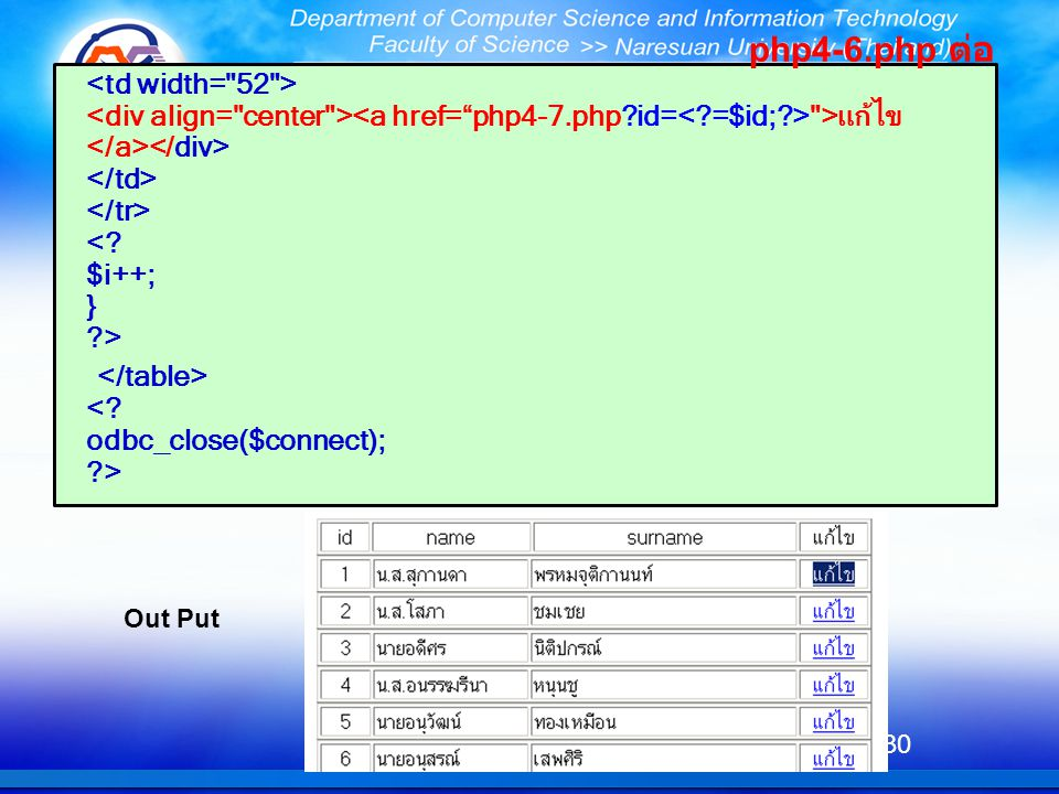 php4-6.php ต่อ <td width= 52 > <div align= center ><a href= php4-7.php id=< =$id; > >แก้ไข</a></div> </td> </tr> < $i++; } >