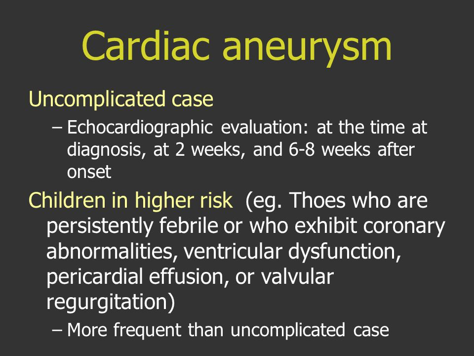 Cardiac aneurysm Uncomplicated case