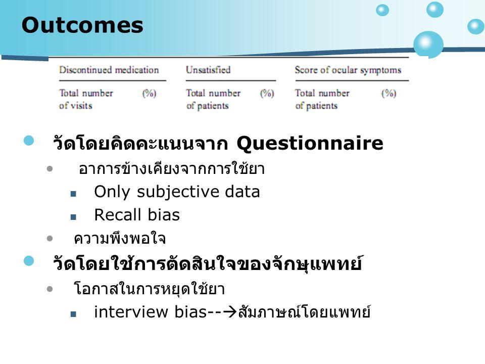 Outcomes วัดโดยคิดคะแนนจาก Questionnaire