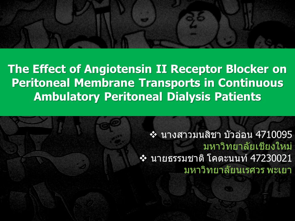 The Effect of Angiotensin II Receptor Blocker on Peritoneal Membrane Transports in Continuous Ambulatory Peritoneal Dialysis Patients