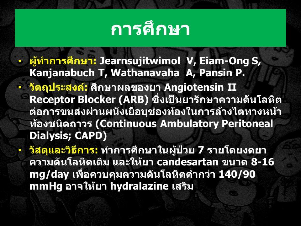 การศึกษา ผู้ทำการศึกษา: Jearnsujitwimol V, Eiam-Ong S, Kanjanabuch T, Wathanavaha A, Pansin P.