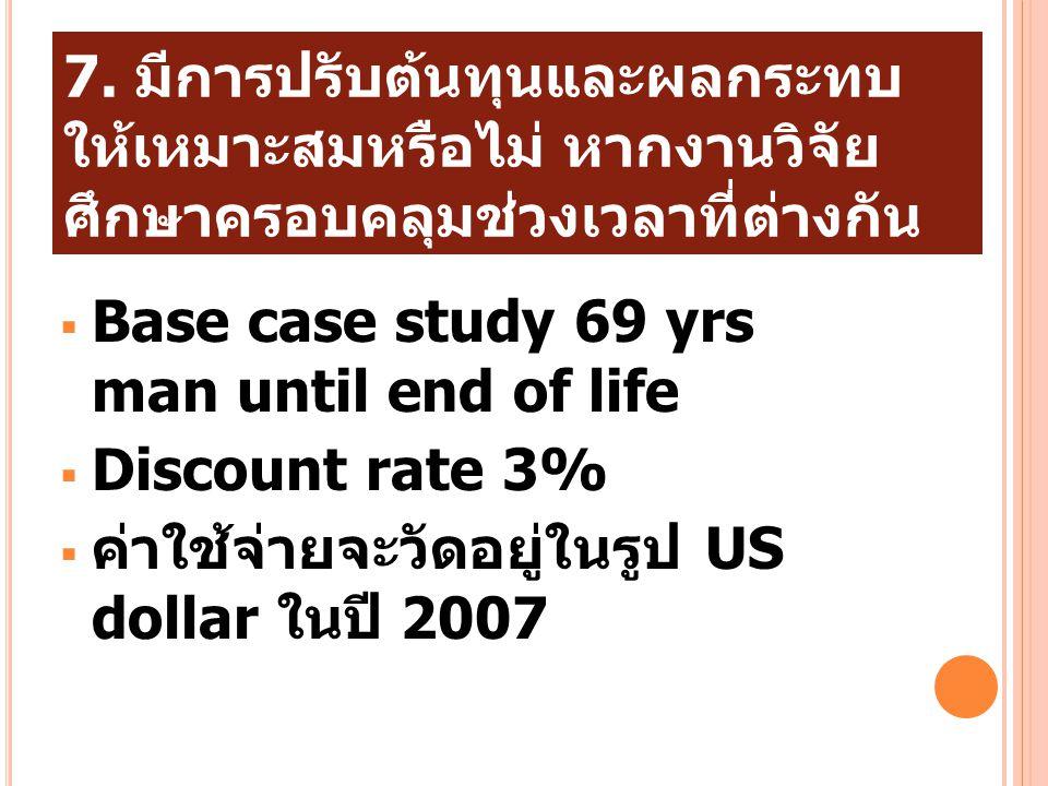 7. มีการปรับต้นทุนและผลกระทบให้เหมาะสมหรือไม่ หากงานวิจัยศึกษาครอบคลุมช่วงเวลาที่ต่างกัน