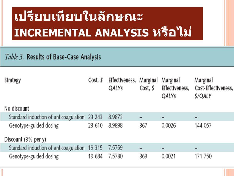 8. การวิจัยเป็นการวิเคราะห์เชิงเปรียบเทียบในลักษณะ incremental analysis หรือไม่