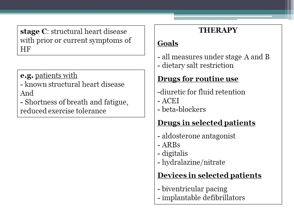 stage C: structural heart disease with prior or current symptoms of HF