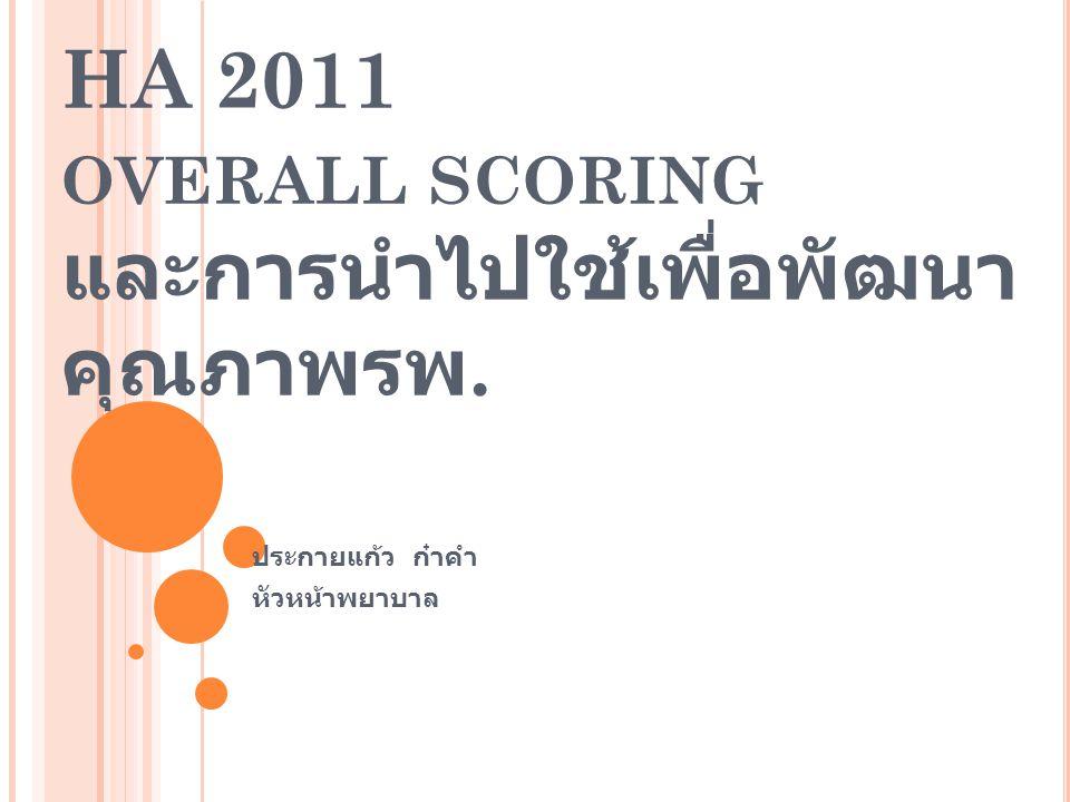 HA 2011 overall scoring และการนำไปใช้เพื่อพัฒนาคุณภาพรพ.