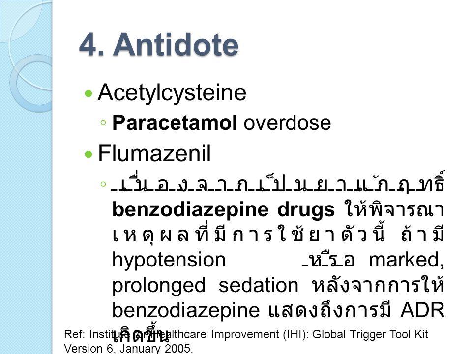 4. Antidote Acetylcysteine Flumazenil Paracetamol overdose