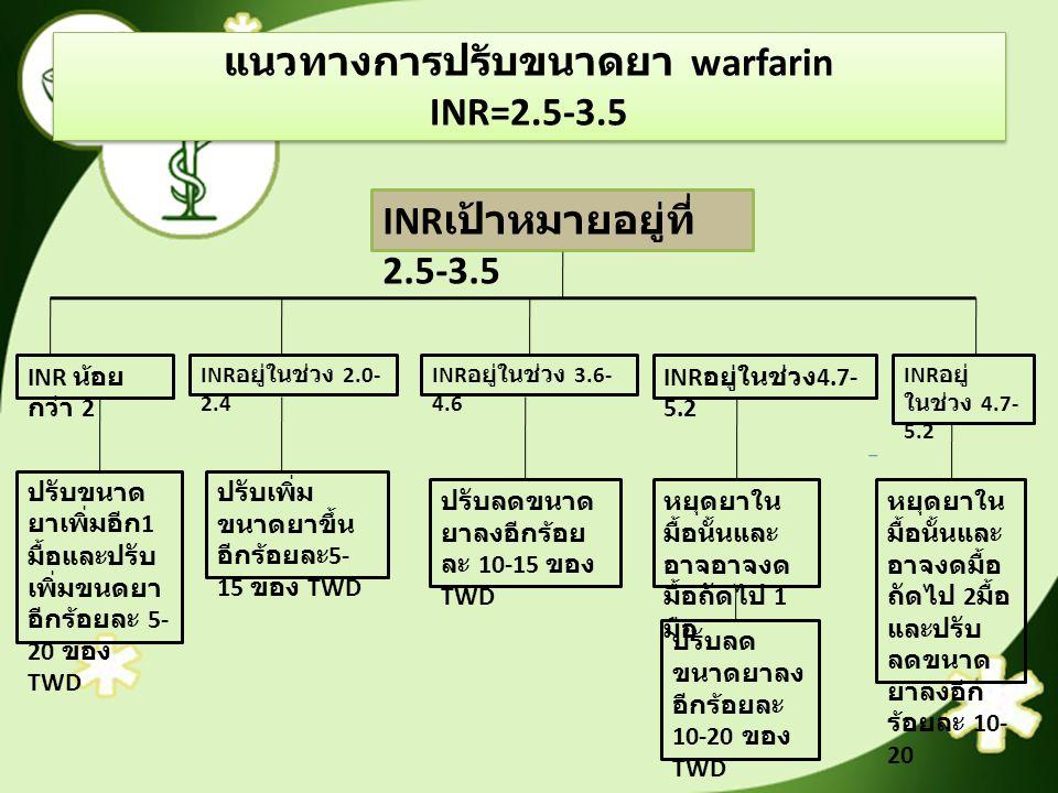 แนวทางการปรับขนาดยา warfarin INR=2.5-3.5