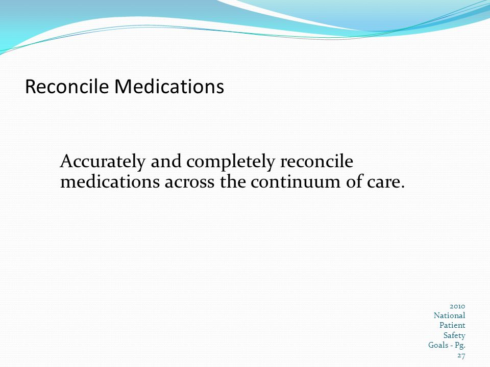 Reconcile Medications
