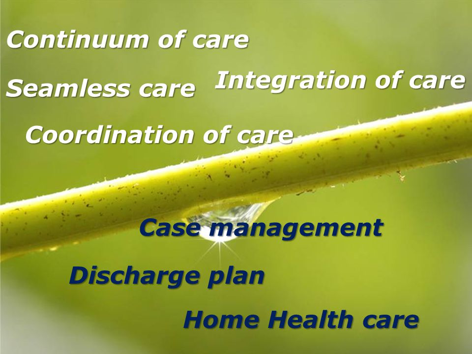 Continuum of care Integration of care. Seamless care. Coordination of care. Case management. Discharge plan.