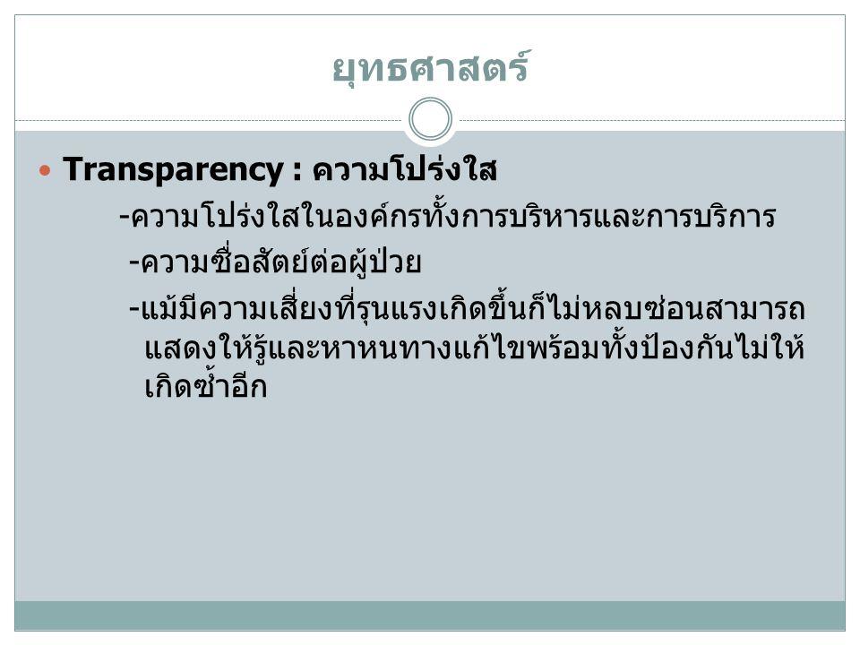 ยุทธศาสตร์ Transparency : ความโปร่งใส