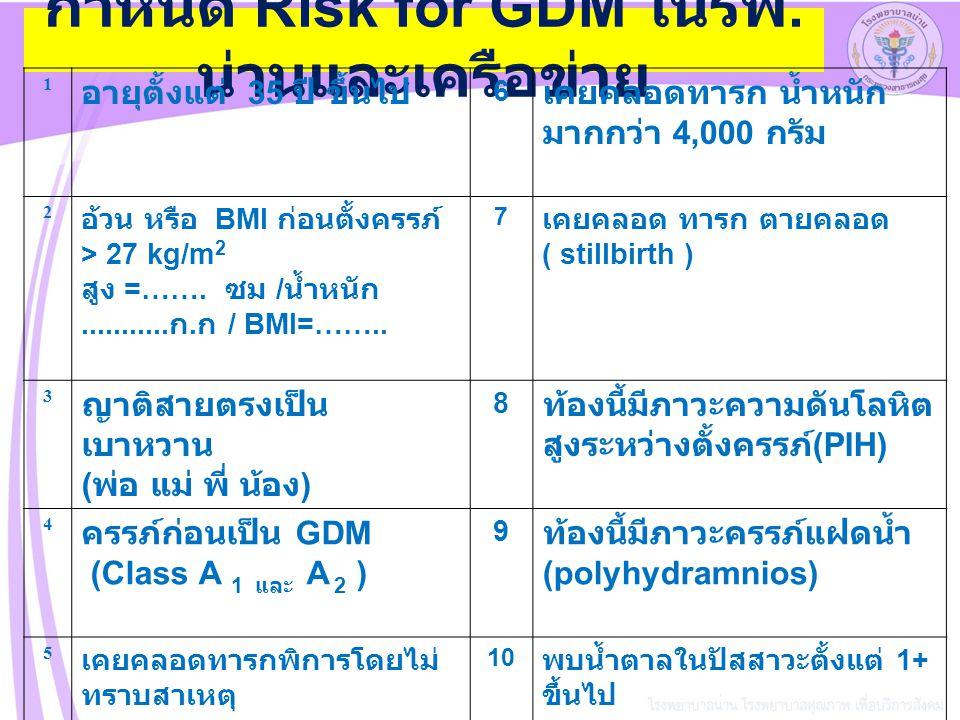 กำหนด Risk for GDM ในรพ.น่านและเครือข่าย