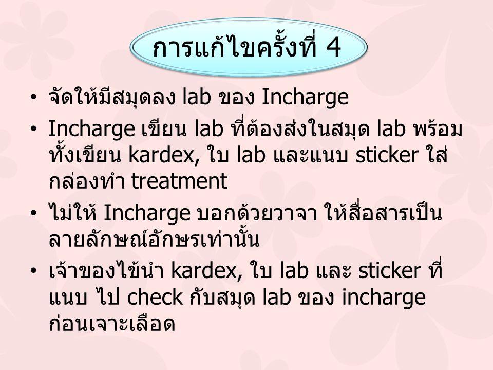 การแก้ไขครั้งที่ 4 จัดให้มีสมุดลง lab ของ Incharge