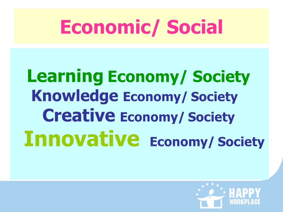 Economic/ Social Learning Economy/ Society Knowledge Economy/ Society