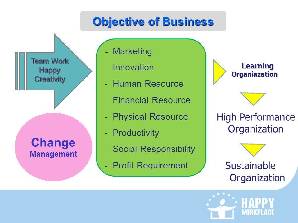 Change Objective of Business High Performance Organization Sustainable