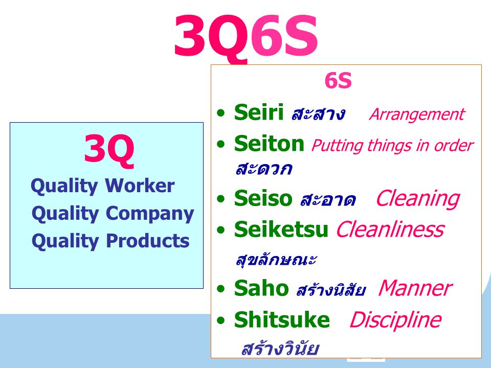 3Q6S 6S Seiri สะสาง Arrangement Seiton Putting things in order สะดวก