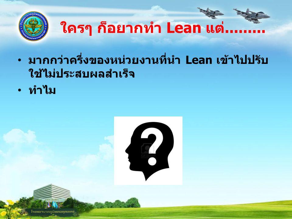 ใครๆ ก็อยากทำ Lean แต่......... มากกว่าครึ่งของหน่วยงานที่นำ Lean เข้าไปปรับใช้ไม่ประสบผลสำเร็จ.