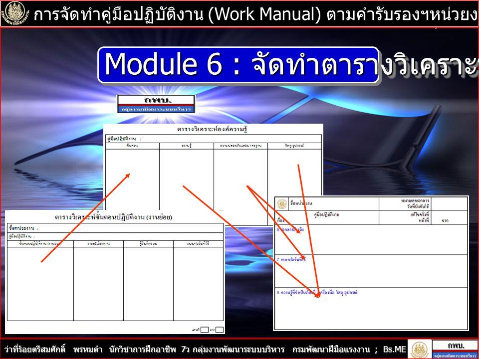 Module 6 : จัดทำตารางวิเคราะห์องค์ความรู้