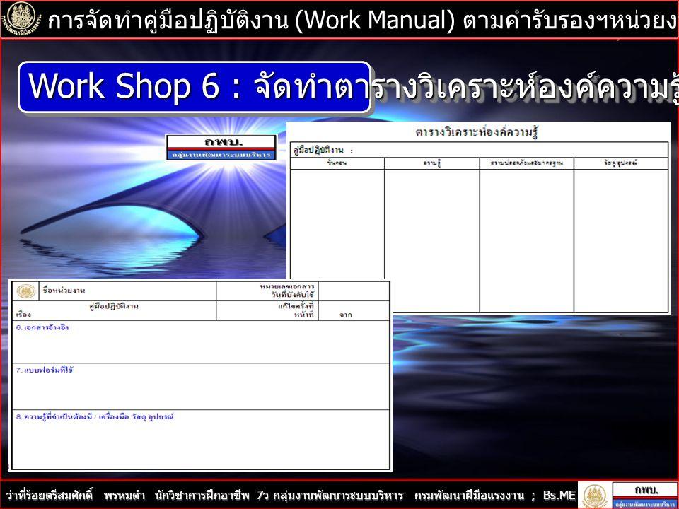 Work Shop 6 : จัดทำตารางวิเคราะห์องค์ความรู้