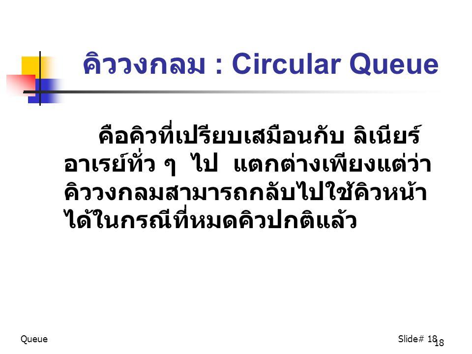 คิววงกลม : Circular Queue