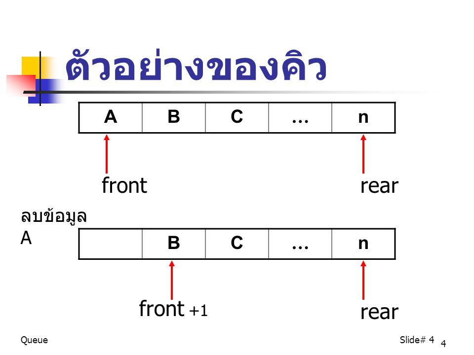 ตัวอย่างของคิว front rear front +1 rear A B C … n ลบข้อมูล A B C … n
