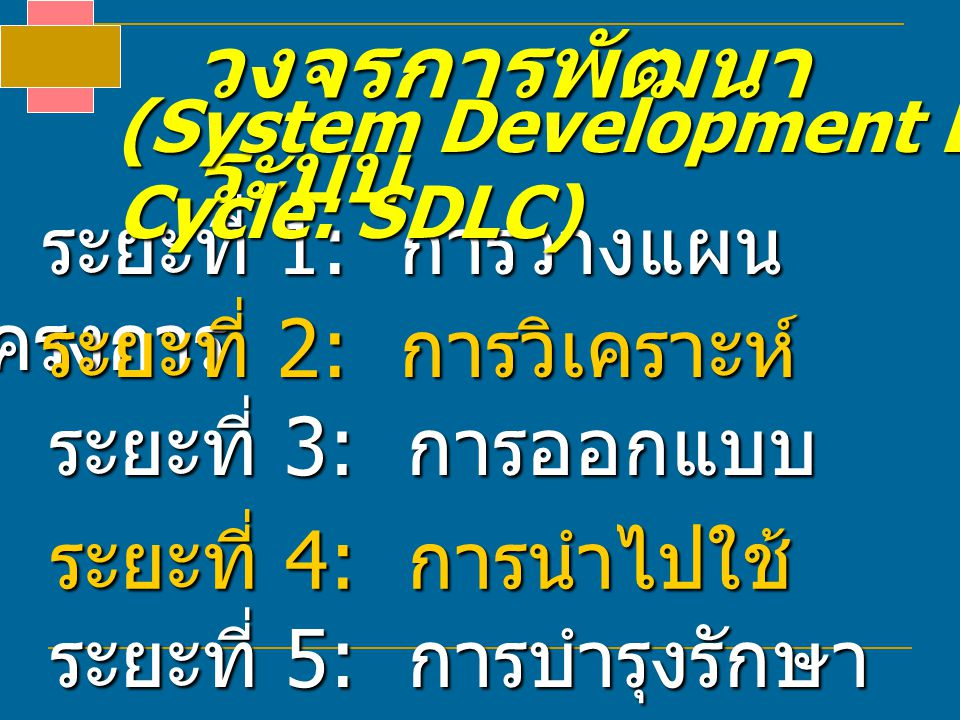 วงจรการพัฒนาระบบ ระยะที่ 1: การวางแผนโครงการ ระยะที่ 2: การวิเคราะห์