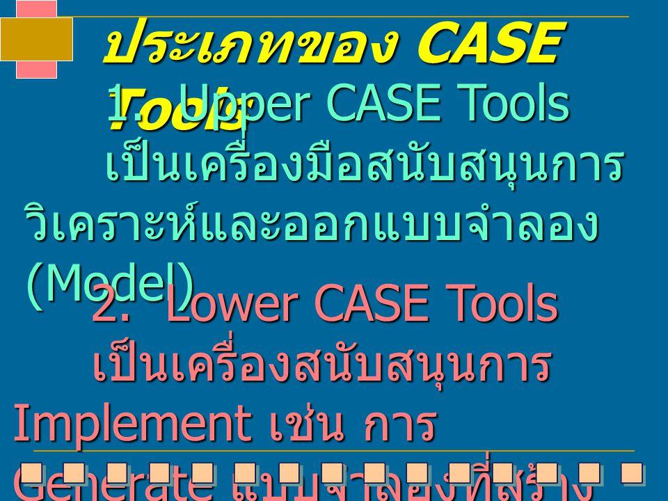 ประเภทของ CASE Tools 1. Upper CASE Tools