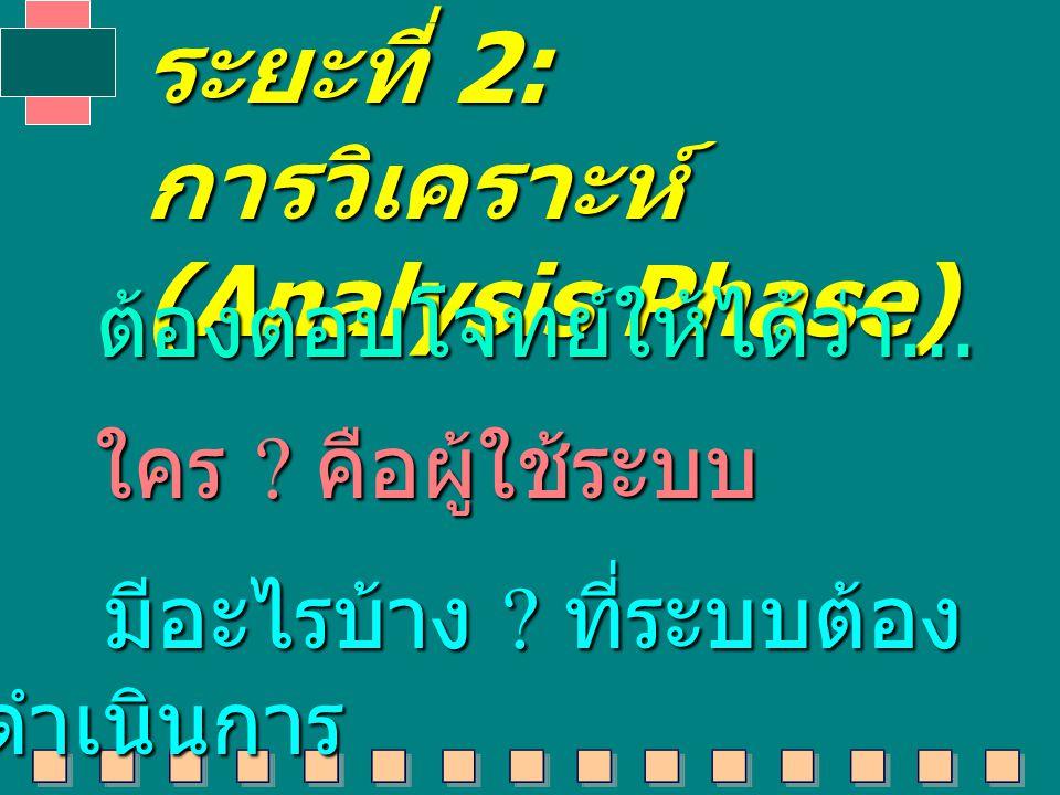 การวิเคราะห์ (Analysis Phase)