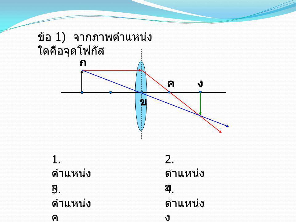 ข้อ 1) จากภาพตำแหน่งใดคือจุดโฟกัส