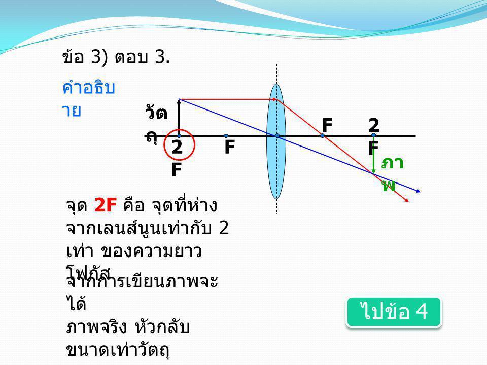 ไปข้อ 4 ข้อ 3) ตอบ 3. คำอธิบาย วัตถุ F 2F 2F F ภาพ