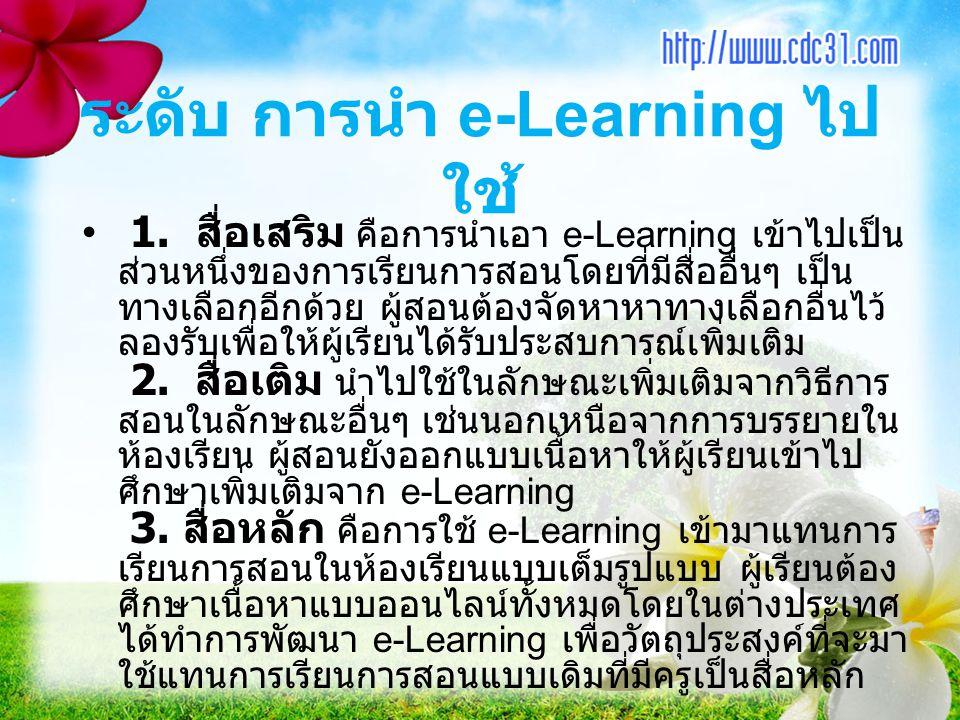 ระดับ การนำ e-Learning ไปใช้