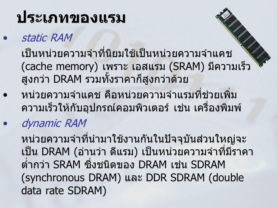 ประเภทของแรม static RAM