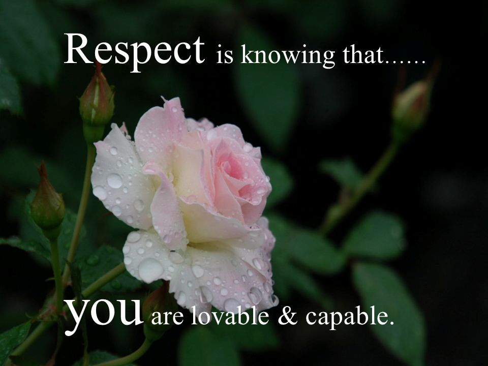 Respect is knowing that……