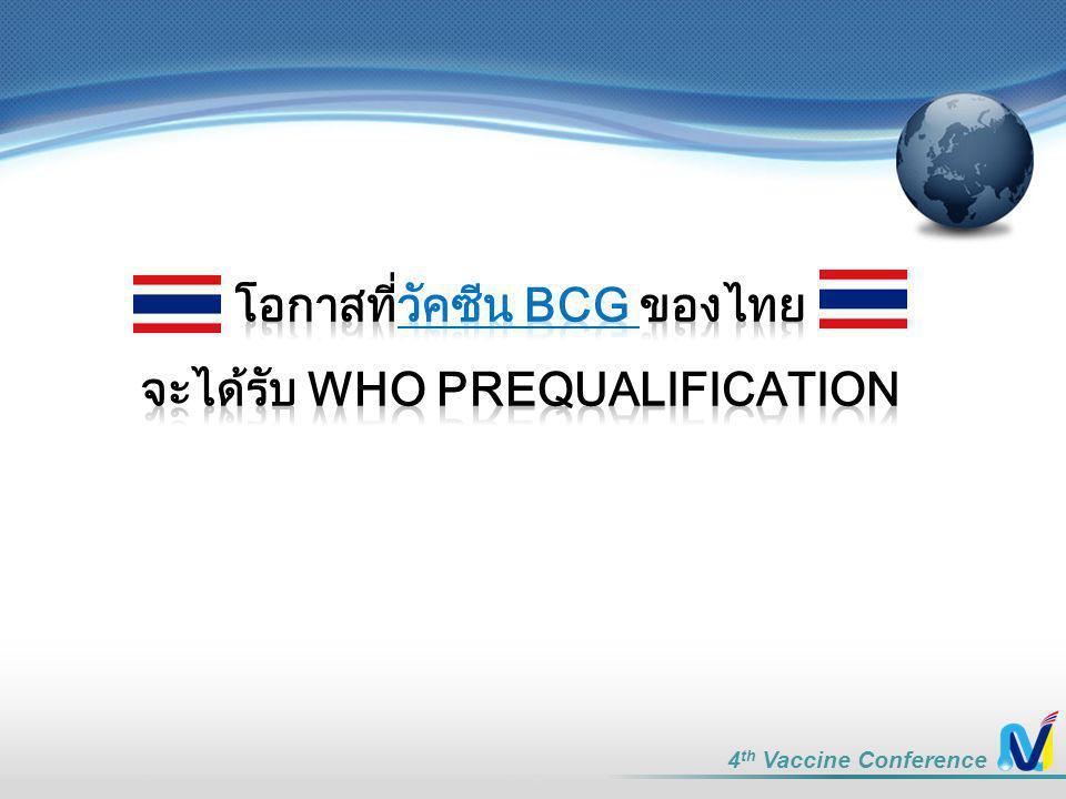 โอกาสที่วัคซีน BCG ของไทย จะได้รับ WHO Prequalification