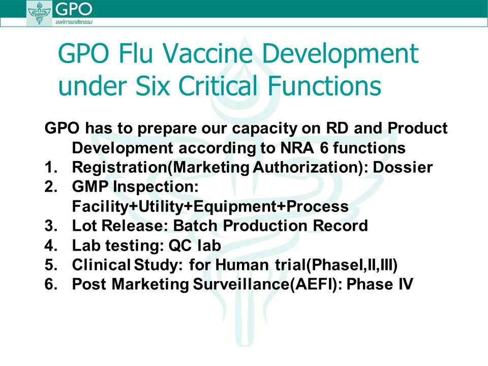 GPO Flu Vaccine Development under Six Critical Functions