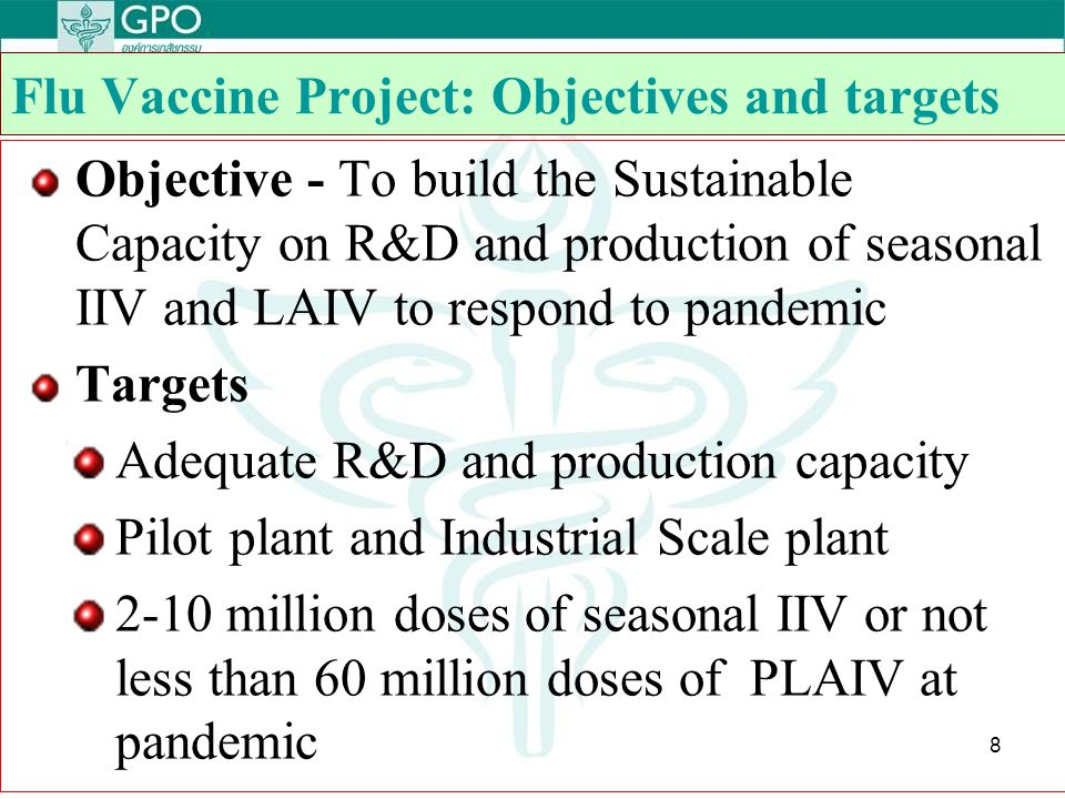 Flu Vaccine Project: Objectives and targets