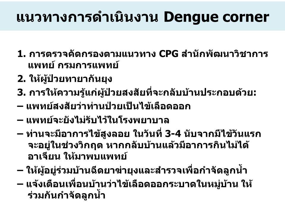 แนวทางการดำเนินงาน Dengue corner