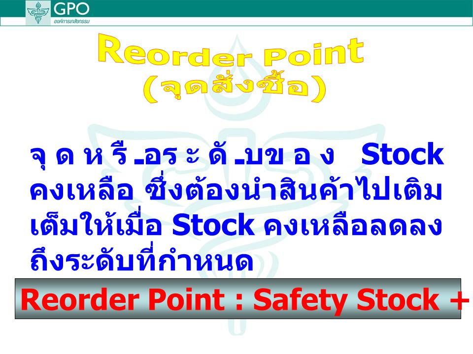Reorder Point : Safety Stock + Lead time of delivery
